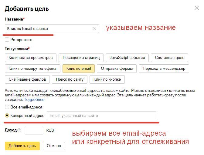 Цель Клик по Email