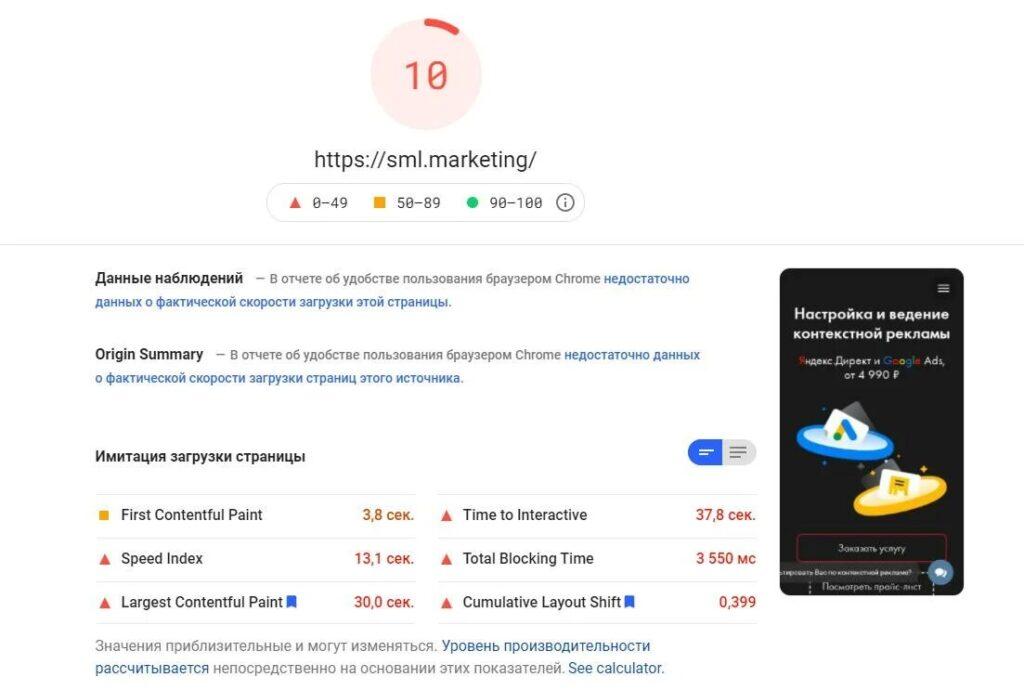 Результат в Google PageSpeed Insight сайта SML Marketing