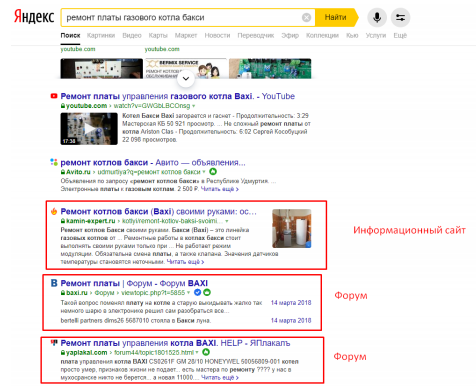 Пример выдачи с информационным интентом
